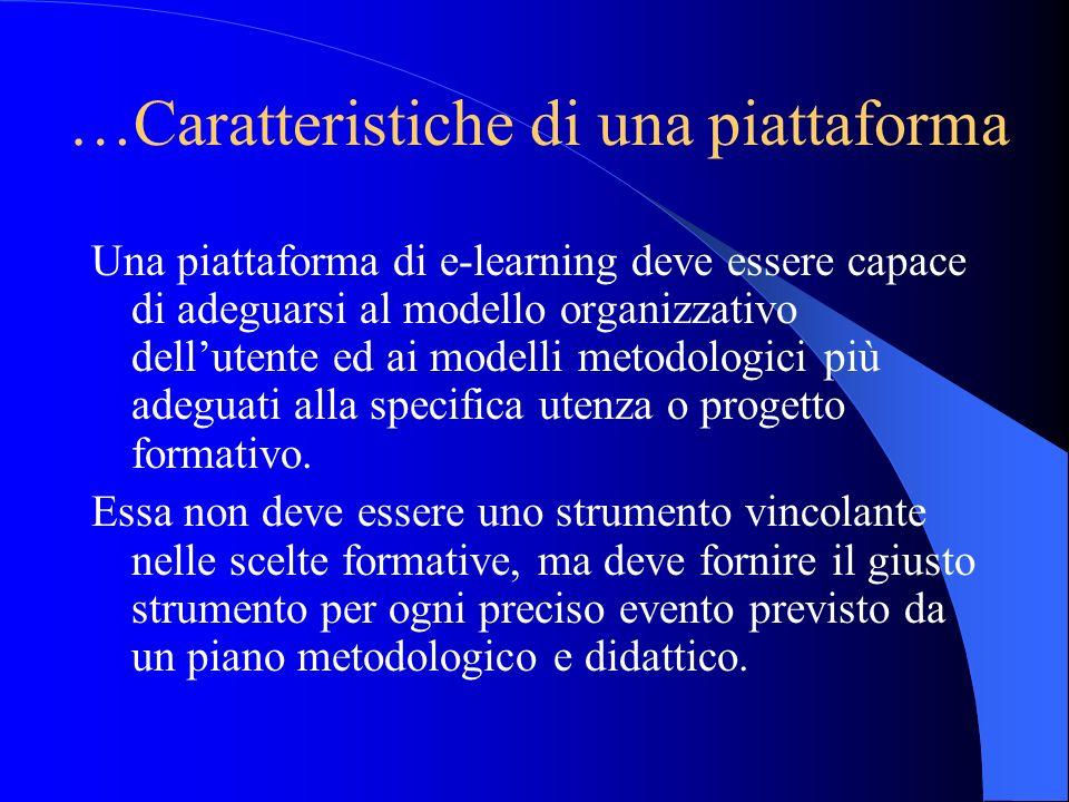 …Caratteristiche di una piattaforma Una piattaforma di e-learning deve essere capace di adeguarsi al modello organizzativo dellutente ed ai modelli me