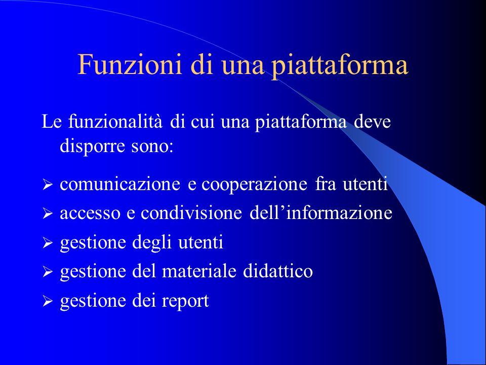 Funzioni di una piattaforma Le funzionalità di cui una piattaforma deve disporre sono: comunicazione e cooperazione fra utenti accesso e condivisione