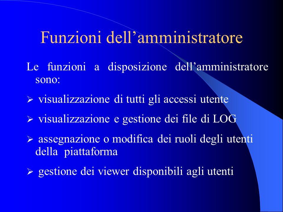 Funzioni dellamministratore Le funzioni a disposizione dellamministratore sono: visualizzazione di tutti gli accessi utente visualizzazione e gestione