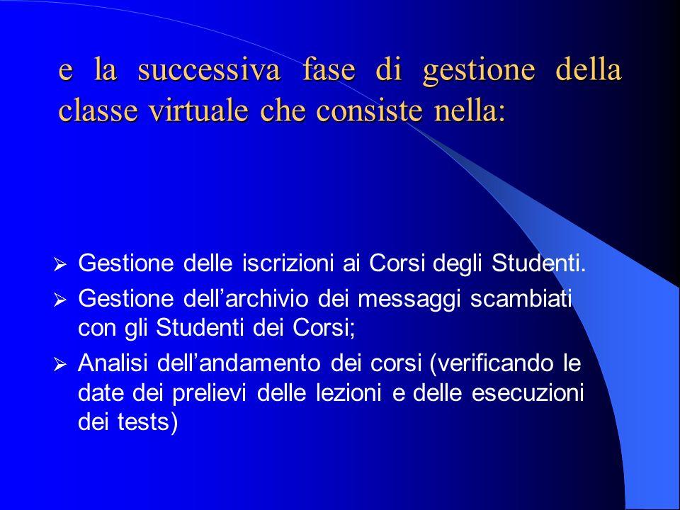 e la successiva fase di gestione della classe virtuale che consiste nella: Gestione delle iscrizioni ai Corsi degli Studenti. Gestione dellarchivio de