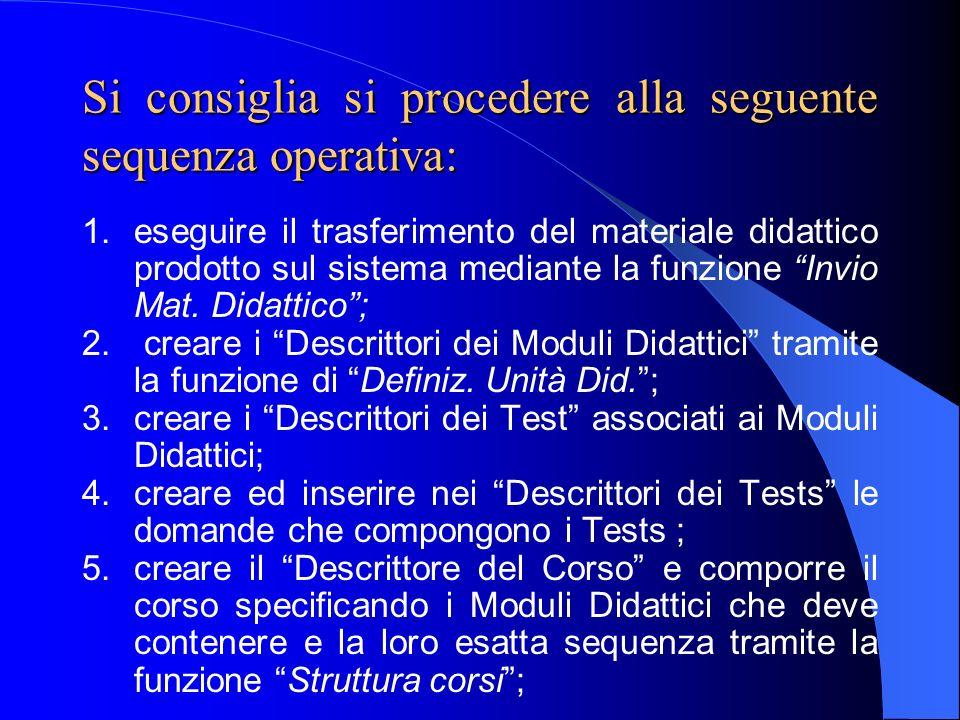 Si consiglia si procedere alla seguente sequenza operativa: 1.eseguire il trasferimento del materiale didattico prodotto sul sistema mediante la funzi