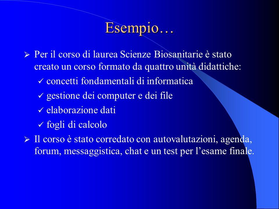 Esempio… Per il corso di laurea Scienze Biosanitarie è stato creato un corso formato da quattro unità didattiche: concetti fondamentali di informatica