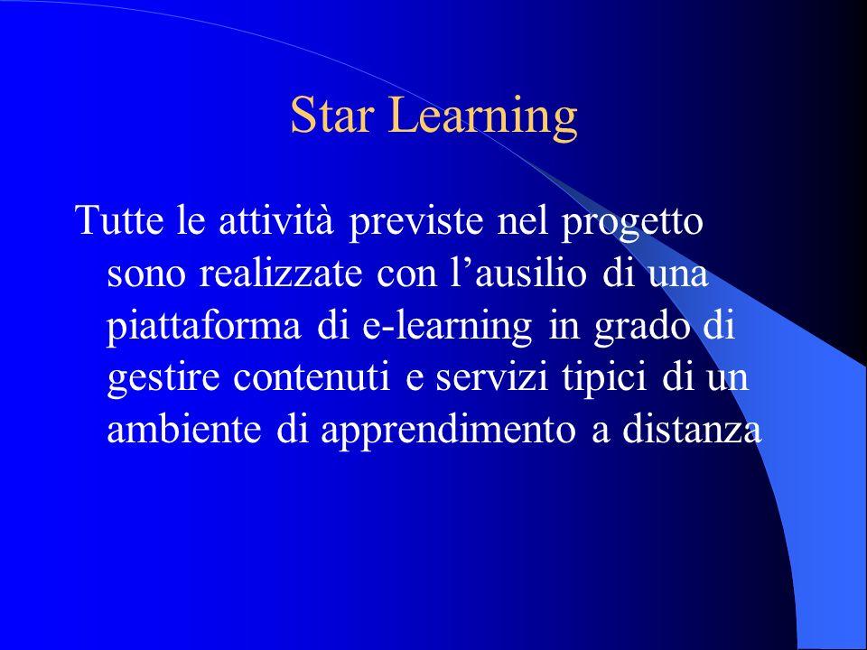 Star Learning Tutte le attività previste nel progetto sono realizzate con lausilio di una piattaforma di e-learning in grado di gestire contenuti e se