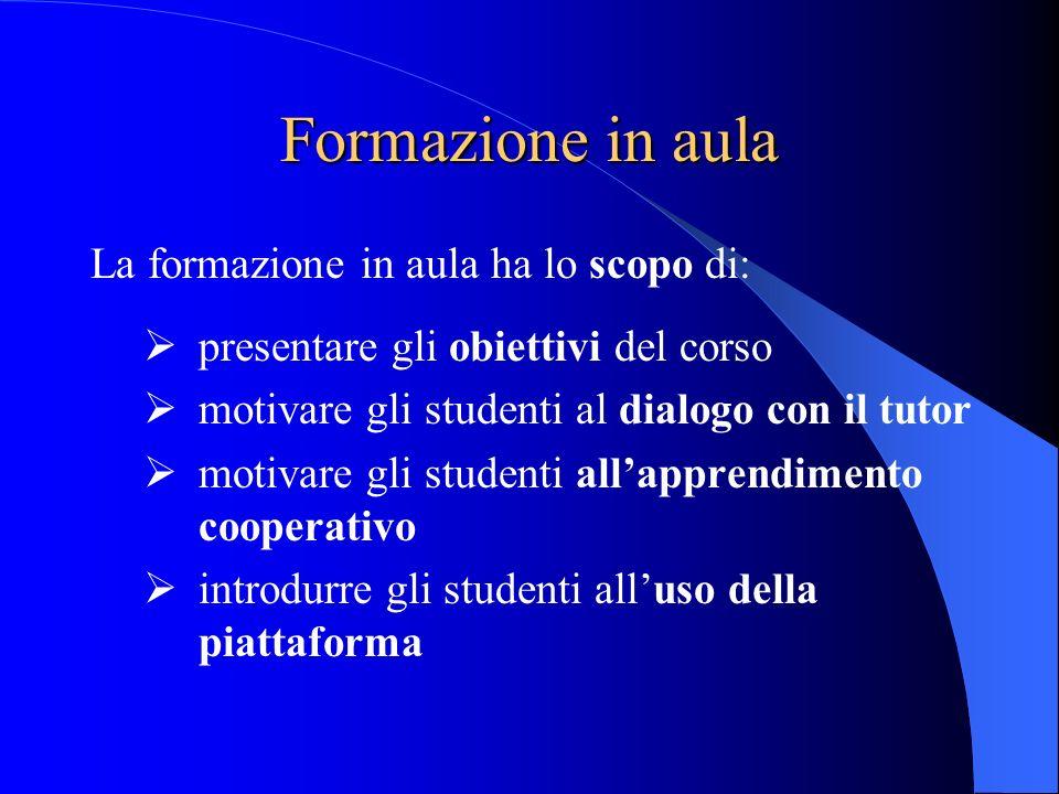 Formazione in aula La formazione in aula ha lo scopo di: presentare gli obiettivi del corso motivare gli studenti al dialogo con il tutor motivare gli