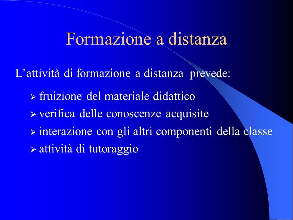 Formazione a distanza Lattività di formazione a distanza prevede: fruizione del materiale didattico verifica delle conoscenze acquisite interazione co