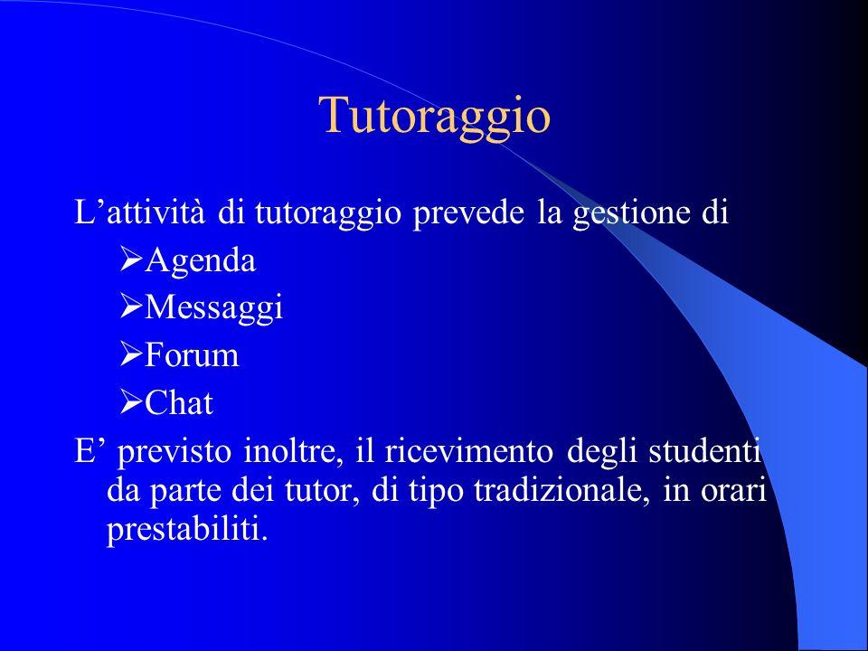 Tutoraggio Lattività di tutoraggio prevede la gestione di Agenda Messaggi Forum Chat E previsto inoltre, il ricevimento degli studenti da parte dei tu