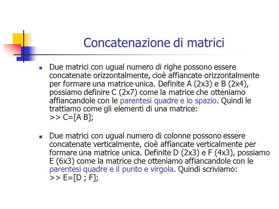 Concatenazione di matrici Due matrici con ugual numero di righe possono essere concatenate orizzontalmente, cioè affiancate orizzontalmente per formar