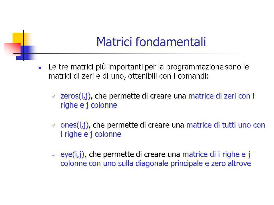 Matrici fondamentali Le tre matrici più importanti per la programmazione sono le matrici di zeri e di uno, ottenibili con i comandi: zeros(i,j), che p