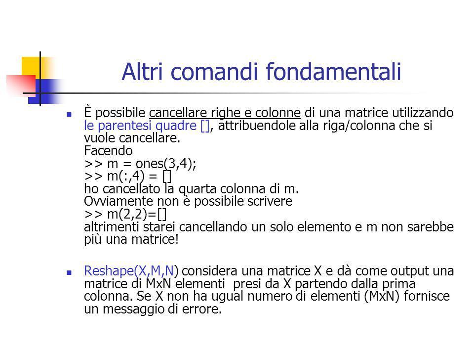 Altri comandi fondamentali È possibile cancellare righe e colonne di una matrice utilizzando le parentesi quadre [], attribuendole alla riga/colonna c
