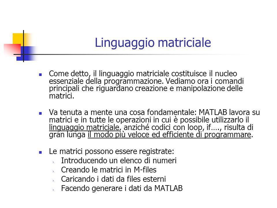 Linguaggio matriciale linserimento manuale Consideriamo linserimento manuale di dati nel command di MATLAB; sono tre le indicazioni da seguire: elementi parentesi quadre [] Gli elementi della matrice devono essere racchiusi tra parentesi quadre [] stessa riga spazio Gli elementi di una stessa riga vanno separati da uno spazio passaggioil punto e virgola Il passaggio da una riga allaltra avviene con il punto e virgola Quindi per registrare la matrice 1 2 -6 4 -4 5 che chiamiamo A va digitato nel command