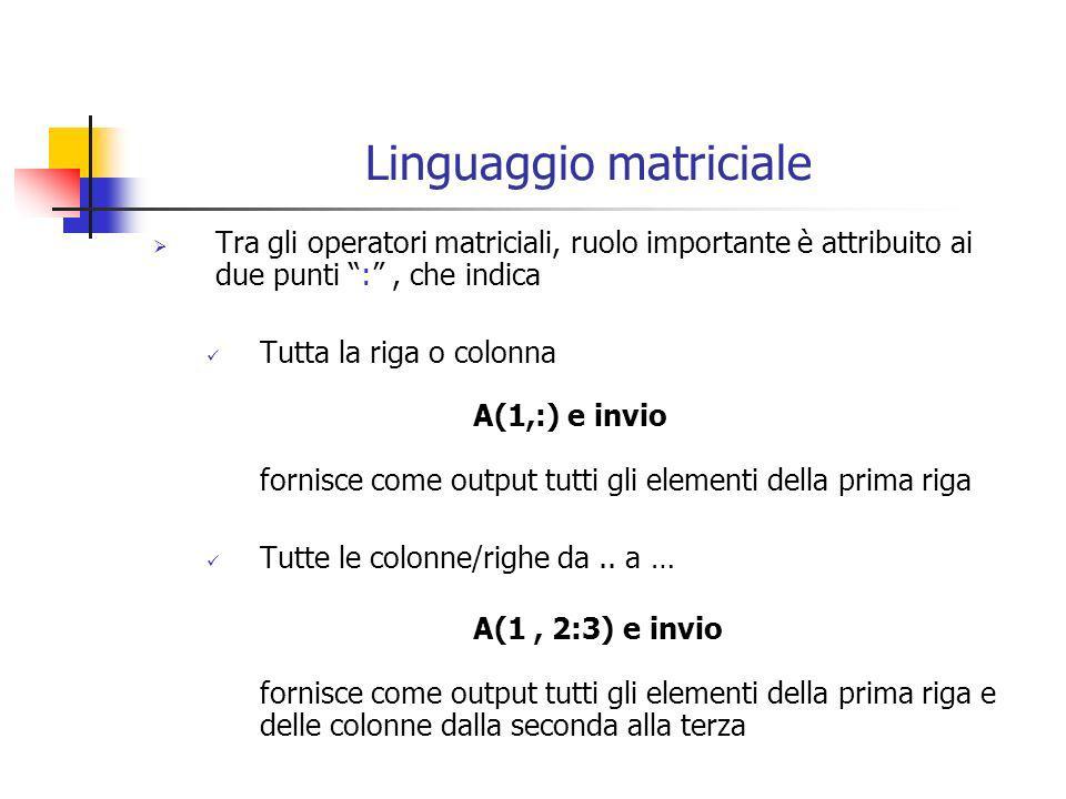 Altri comandi Altri comandi utilizzabili in ambito matriciale sono: abs() => calcola il valore assoluto di un numero o la matrice contenente i valori assoluti della matrice cui è applicato fix() => tronca un numero allintero round() => calcola larrotondamento per eccesso/difetto max() e min()=> calcola di un vettore il max o min elemento; di una matrice produce un vettore con il max o min degli elementi per colonne fliplr() => inverte lordine degli elementi di un vettore