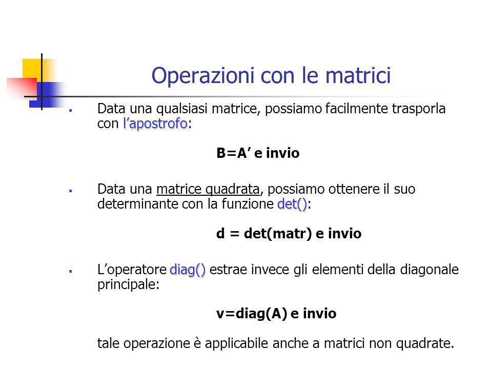 Operazioni con le matrici lapostrofo Data una qualsiasi matrice, possiamo facilmente trasporla con lapostrofo: B=A e invio det() Data una matrice quad