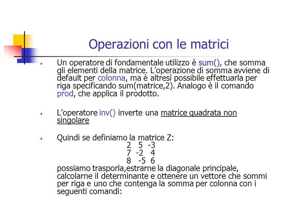 Operazioni con le matrici Ztr=Z Dt = det(Z) V = diag(Z) Vs1=sum(Z) Vs2=sum(Z,2) Le operazioni di somma e sottrazione tra matrici si ottengono con i simboli + e – e consistono nella somma e sottrazione degli elementi di una matrice con il corrisponente elemento dellaltra, nellipotesi che le dimensioni delle matrici coincidano altrimenti il messaggio di errore è ??.
