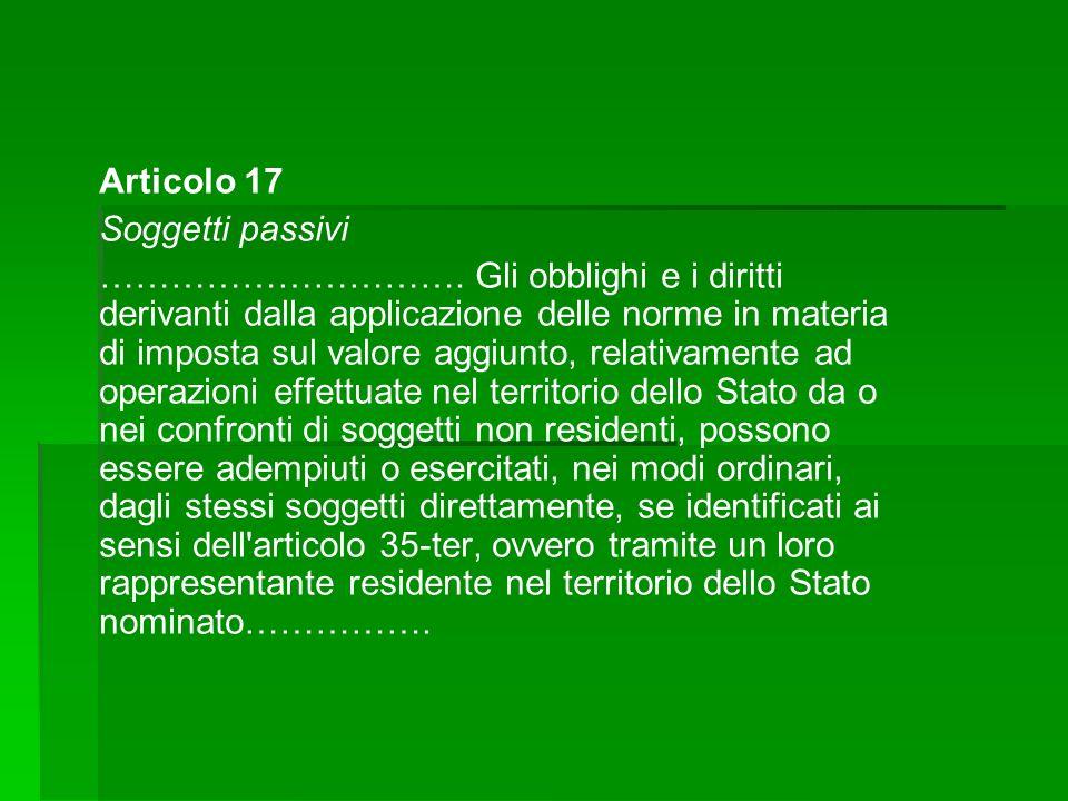 Articolo 17 Soggetti passivi ………………………….