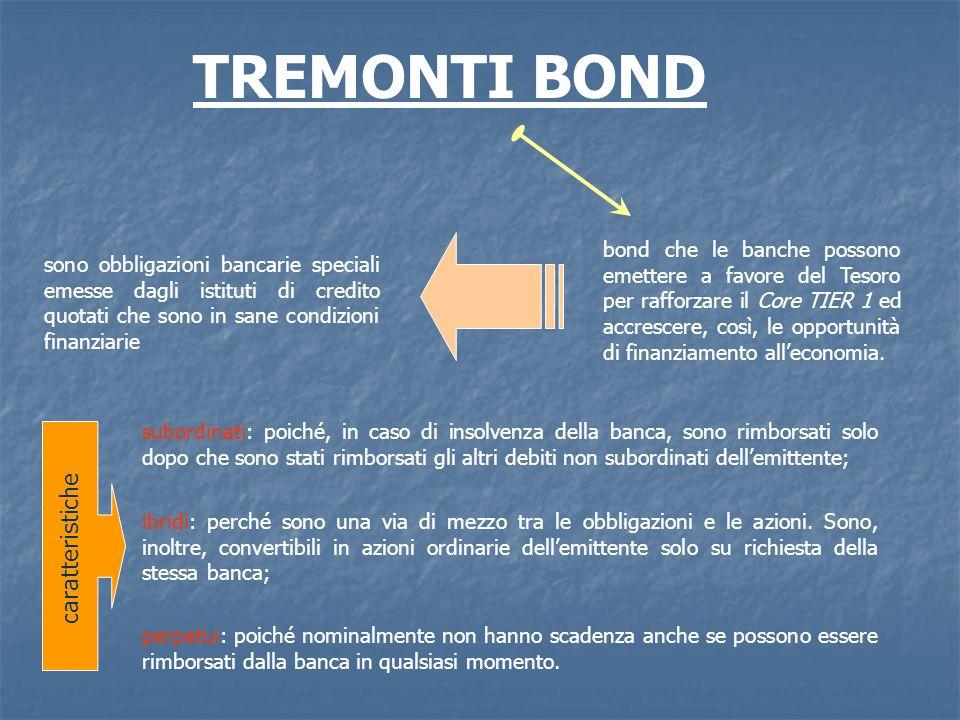 sono obbligazioni bancarie speciali emesse dagli istituti di credito quotati che sono in sane condizioni finanziarie TREMONTI BOND bond che le banche