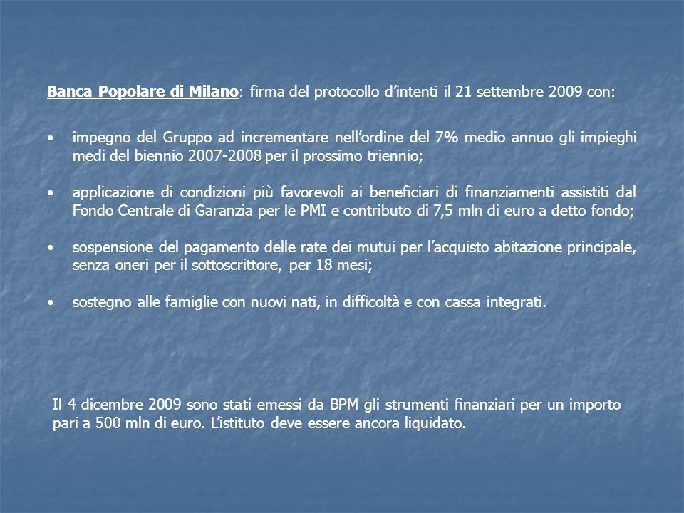 Banca Popolare di Milano: firma del protocollo dintenti il 21 settembre 2009 con: impegno del Gruppo ad incrementare nellordine del 7% medio annuo gli