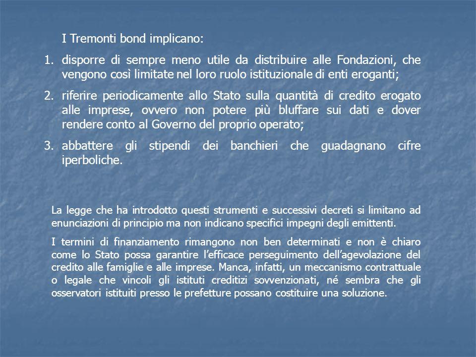 I Tremonti bond implicano: 1.disporre di sempre meno utile da distribuire alle Fondazioni, che vengono così limitate nel loro ruolo istituzionale di e
