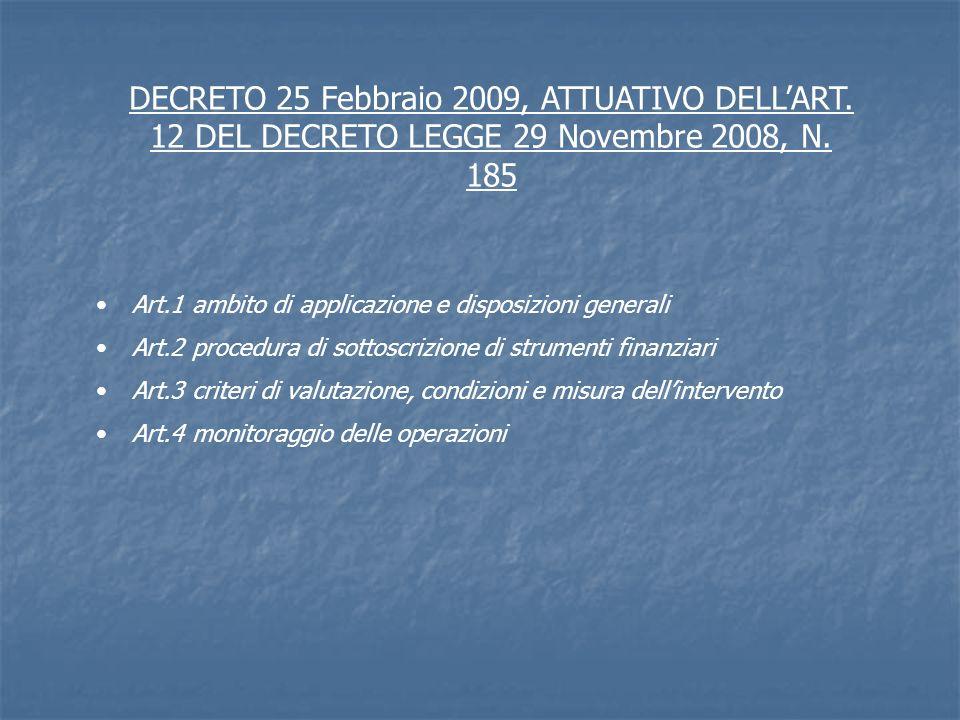 DECRETO 25 Febbraio 2009, ATTUATIVO DELLART. 12 DEL DECRETO LEGGE 29 Novembre 2008, N. 185 Art.1ambito di applicazione e disposizioni generali Art.2pr