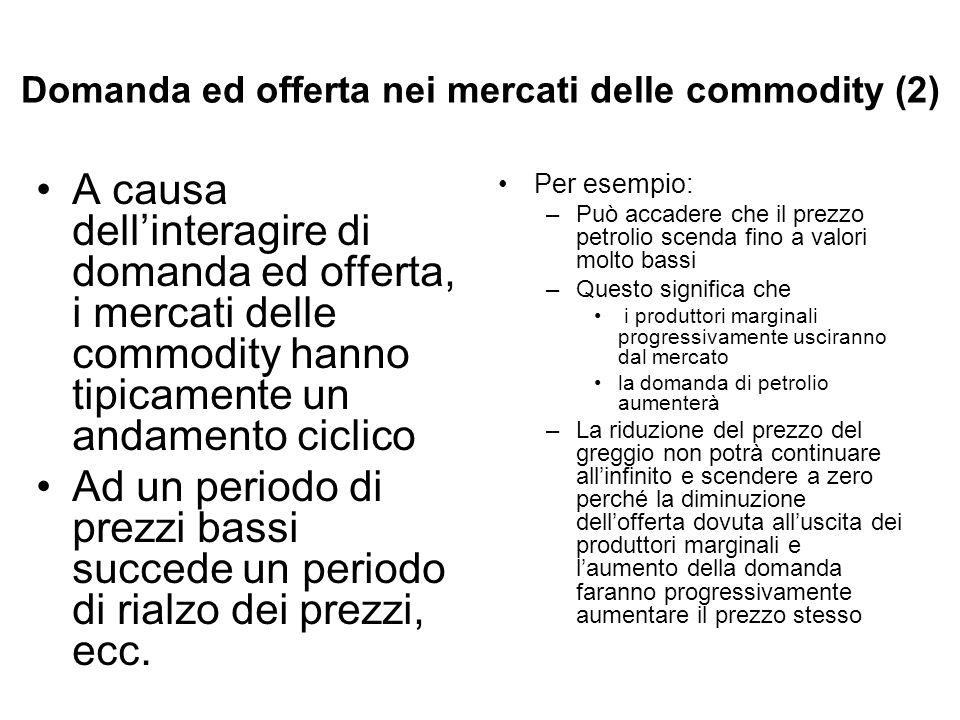 Domanda ed offerta nei mercati delle commodity (2) A causa dellinteragire di domanda ed offerta, i mercati delle commodity hanno tipicamente un andame