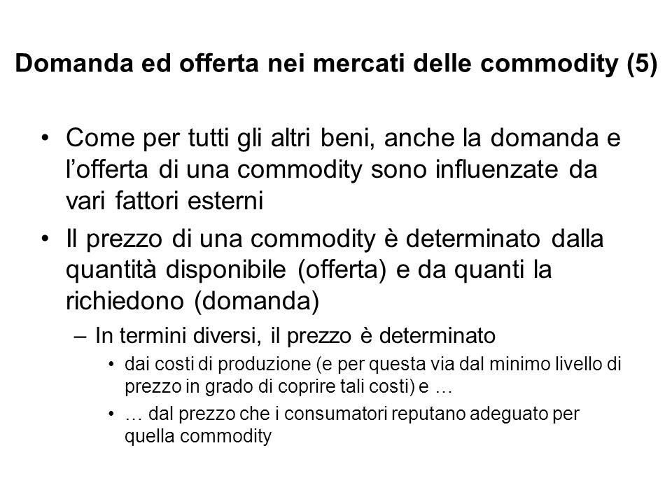 Domanda ed offerta nei mercati delle commodity (5) Come per tutti gli altri beni, anche la domanda e lofferta di una commodity sono influenzate da var