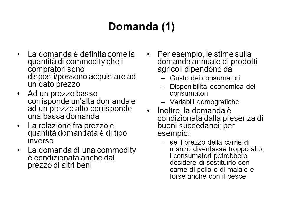 Domanda (1) La domanda è definita come la quantità di commodity che i compratori sono disposti/possono acquistare ad un dato prezzo Ad un prezzo basso