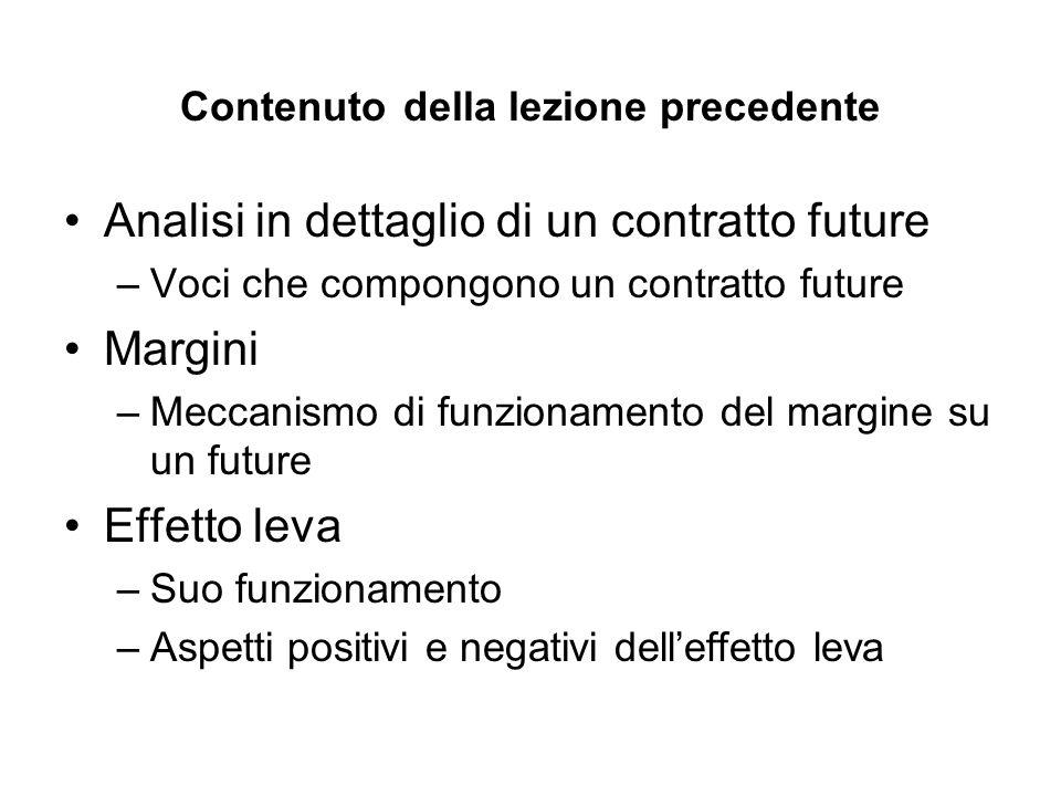 Contenuto della lezione precedente Analisi in dettaglio di un contratto future –Voci che compongono un contratto future Margini –Meccanismo di funzionamento del margine su un future Effetto leva –Suo funzionamento –Aspetti positivi e negativi delleffetto leva