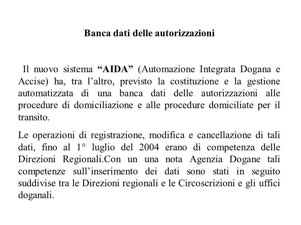 Banca dati delle autorizzazioni Il nuovo sistema AIDA (Automazione Integrata Dogana e Accise) ha, tra laltro, previsto la costituzione e la gestione a