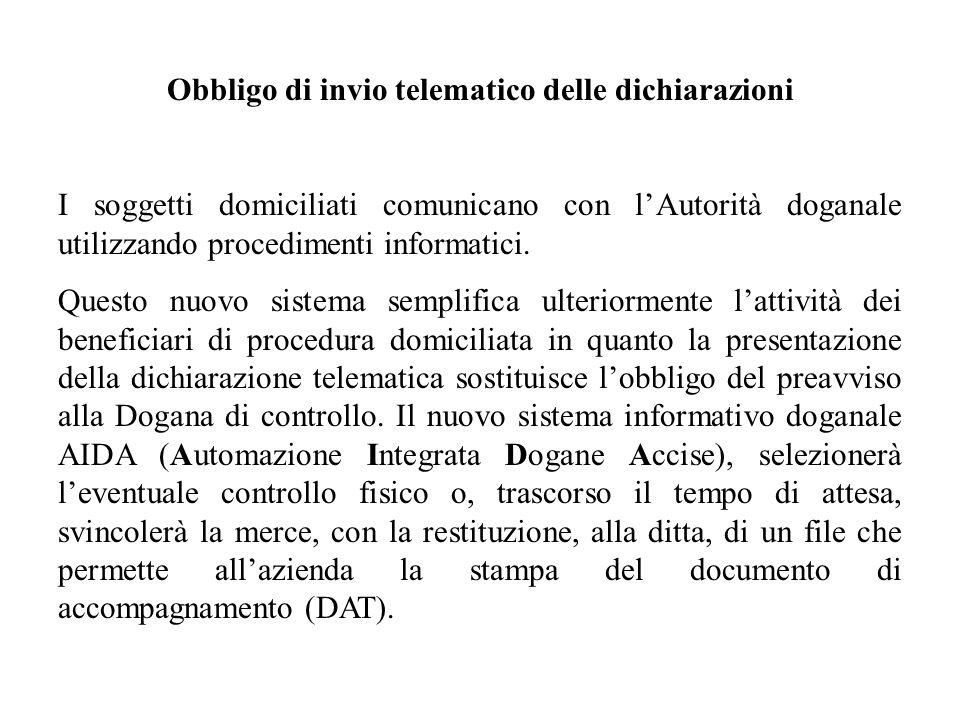 Obbligo di invio telematico delle dichiarazioni I soggetti domiciliati comunicano con lAutorità doganale utilizzando procedimenti informatici. Questo