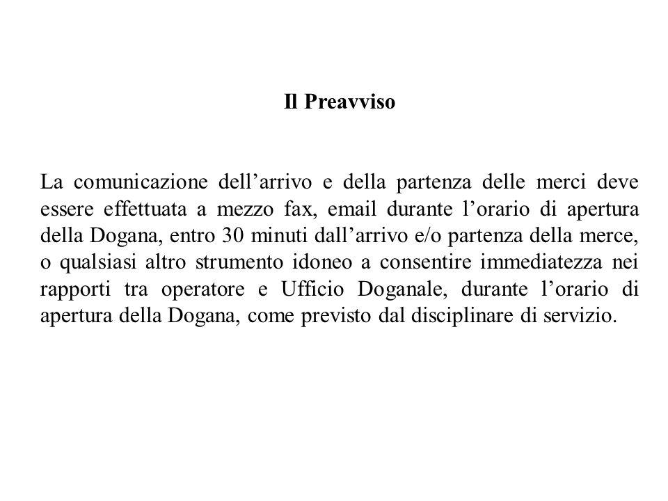 Il Preavviso La comunicazione dellarrivo e della partenza delle merci deve essere effettuata a mezzo fax, email durante lorario di apertura della Doga