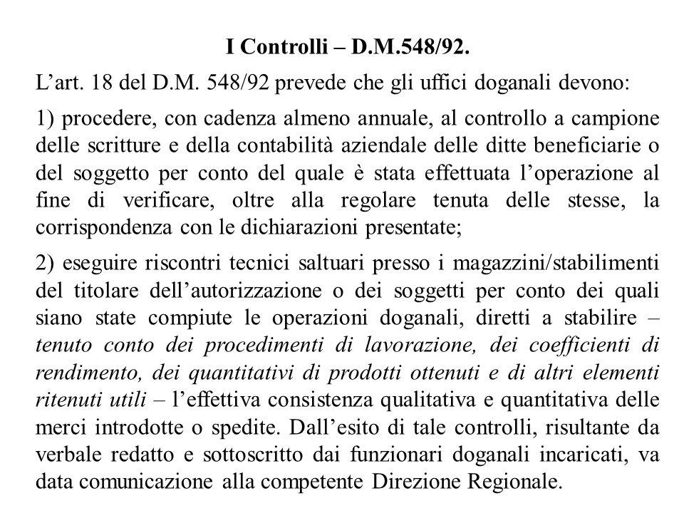 I Controlli – D.M.548/92. Lart. 18 del D.M. 548/92 prevede che gli uffici doganali devono: 1) procedere, con cadenza almeno annuale, al controllo a ca