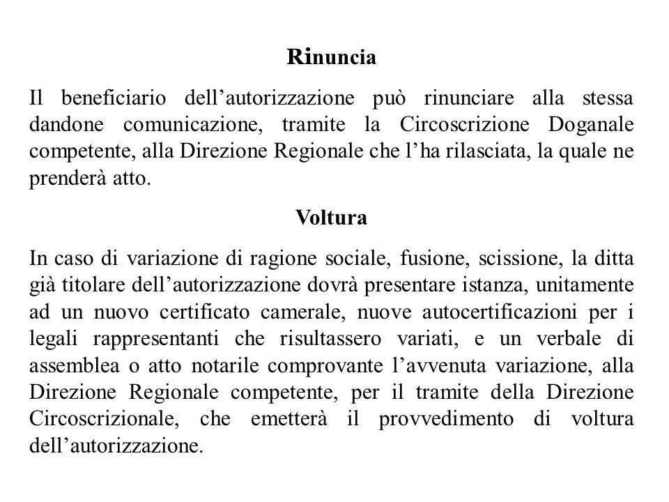 Ri nuncia Il beneficiario dellautorizzazione può rinunciare alla stessa dandone comunicazione, tramite la Circoscrizione Doganale competente, alla Dir