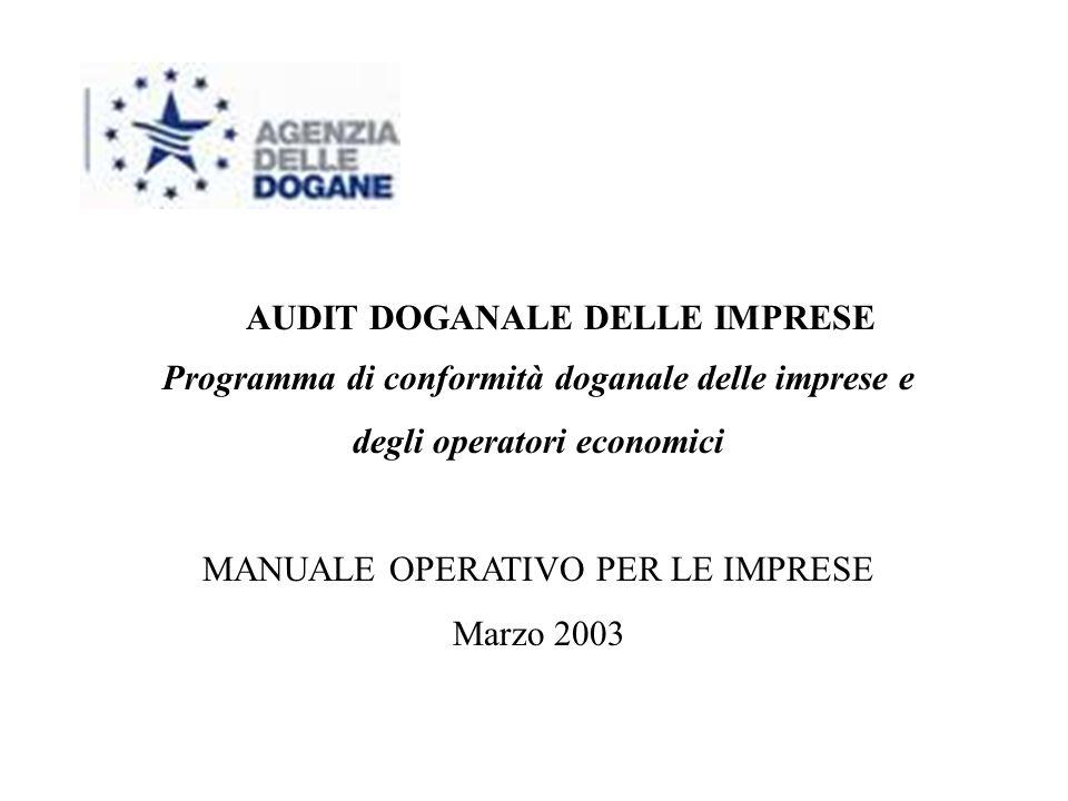 Programma di conformità doganale delle imprese e degli operatori economici MANUALE OPERATIVO PER LE IMPRESE Marzo 2003 AUDIT DOGANALE DELLE IMPRESE