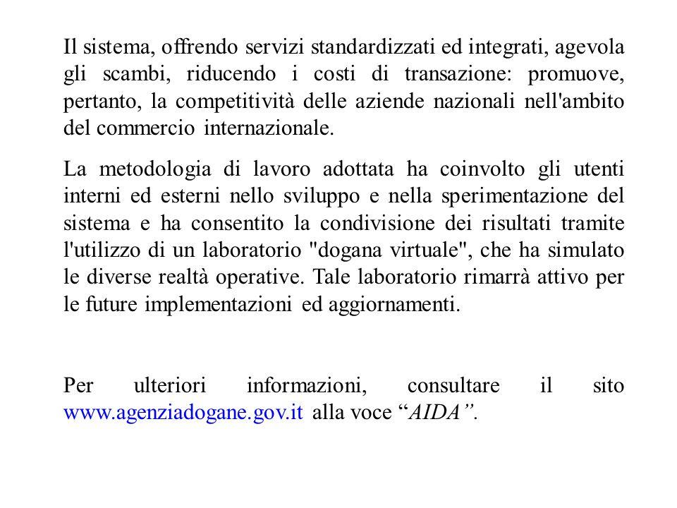 Il sistema, offrendo servizi standardizzati ed integrati, agevola gli scambi, riducendo i costi di transazione: promuove, pertanto, la competitività d