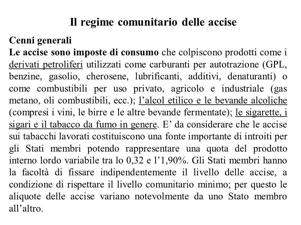 Il regime comunitario delle accise Cenni generali Le accise sono imposte di consumo che colpiscono prodotti come i derivati petroliferi utilizzati com