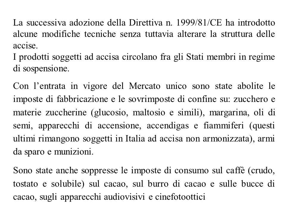 La successiva adozione della Direttiva n. 1999/81/CE ha introdotto alcune modifiche tecniche senza tuttavia alterare la struttura delle accise. I prod