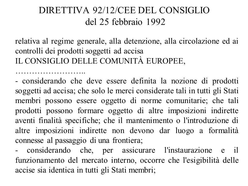 relativa al regime generale, alla detenzione, alla circolazione ed ai controlli dei prodotti soggetti ad accisa IL CONSIGLIO DELLE COMUNITÀ EUROPEE, …