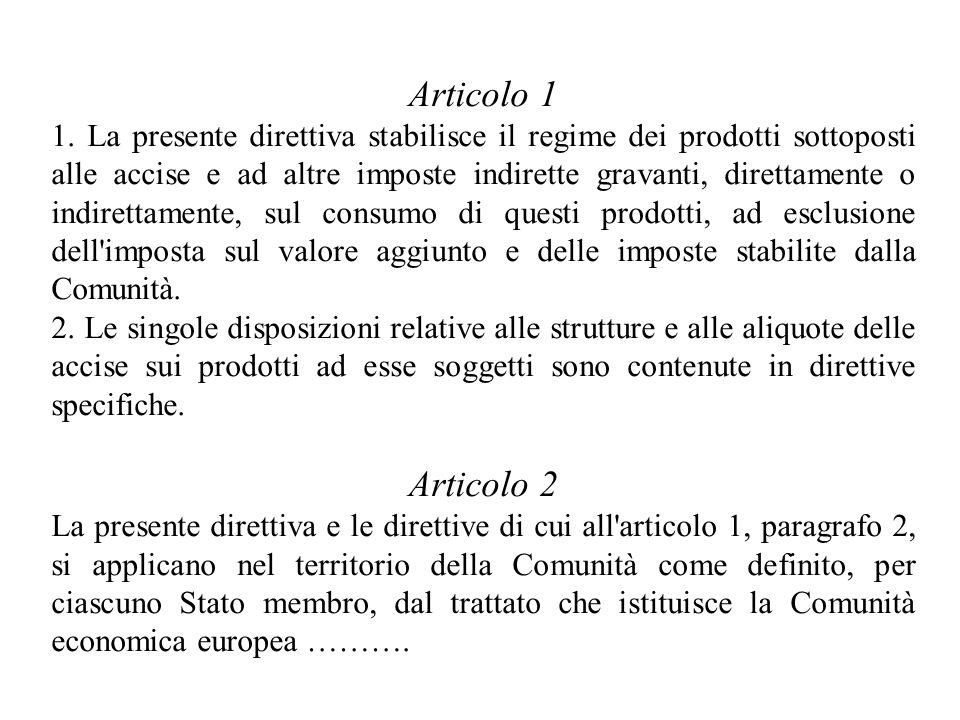 Articolo 1 1. La presente direttiva stabilisce il regime dei prodotti sottoposti alle accise e ad altre imposte indirette gravanti, direttamente o ind