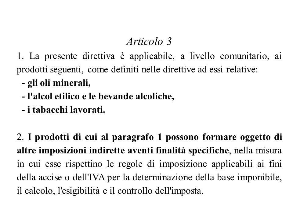 Articolo 3 1. La presente direttiva è applicabile, a livello comunitario, ai prodotti seguenti, come definiti nelle direttive ad essi relative: - gli