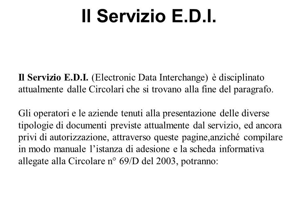 Il Servizio E.D.I. (Electronic Data Interchange) è disciplinato attualmente dalle Circolari che si trovano alla fine del paragrafo. Gli operatori e le