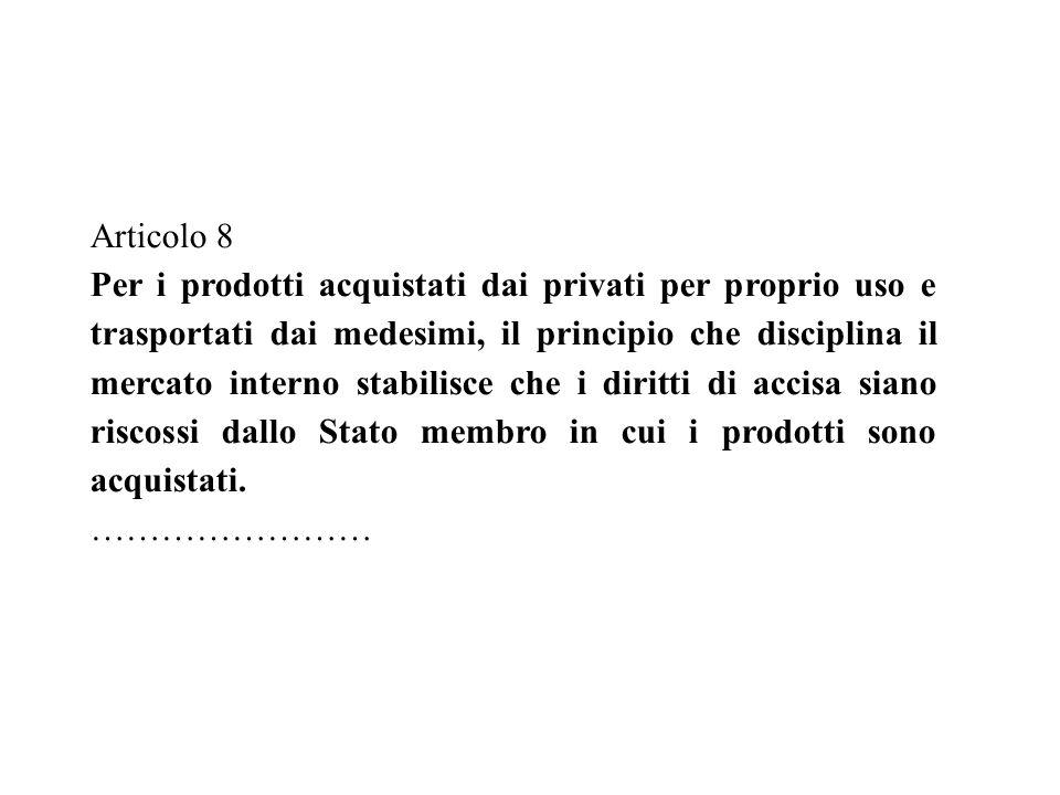Articolo 8 Per i prodotti acquistati dai privati per proprio uso e trasportati dai medesimi, il principio che disciplina il mercato interno stabilisce