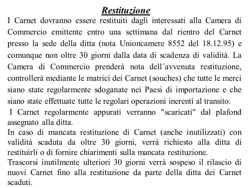 I Carnet dovranno essere restituiti dagli interessati alla Camera di Commercio emittente entro una settimana dal rientro del Carnet presso la sede del