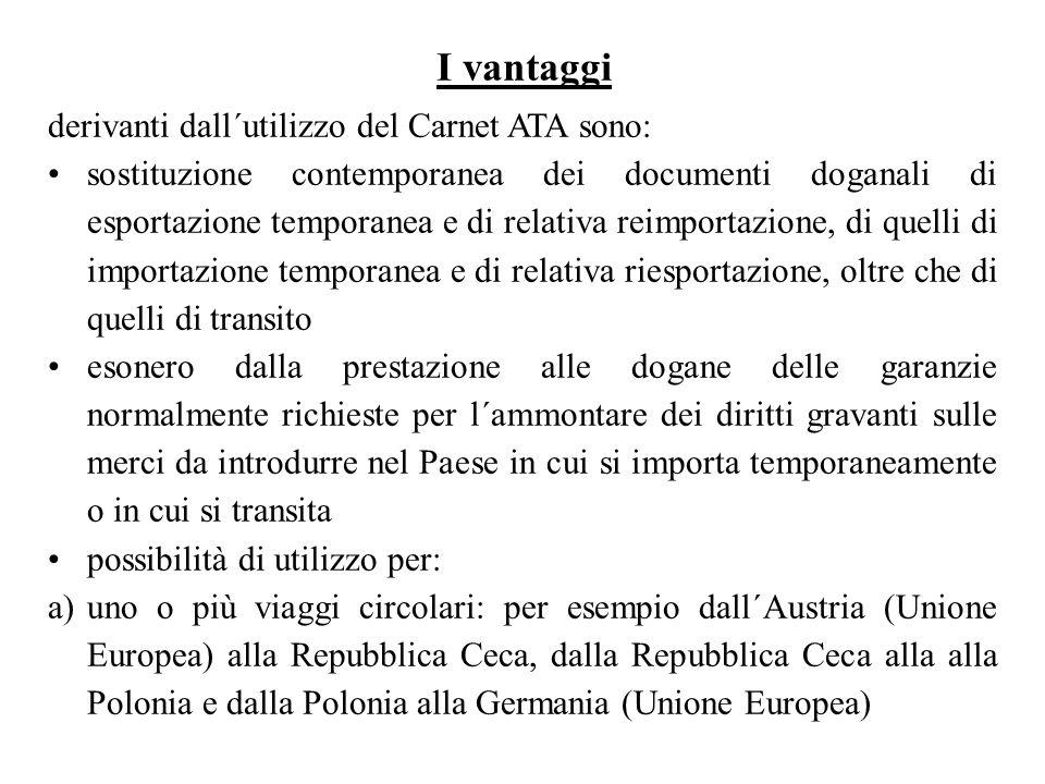 derivanti dall´utilizzo del Carnet ATA sono: sostituzione contemporanea dei documenti doganali di esportazione temporanea e di relativa reimportazione