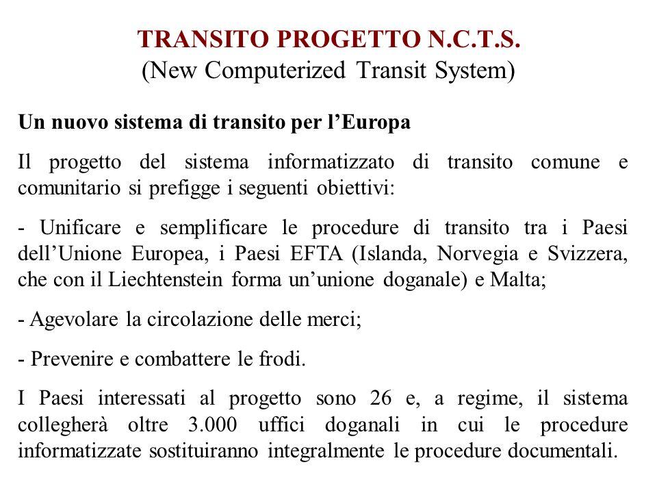 TRANSITO PROGETTO N.C.T.S. (New Computerized Transit System) Un nuovo sistema di transito per lEuropa Il progetto del sistema informatizzato di transi