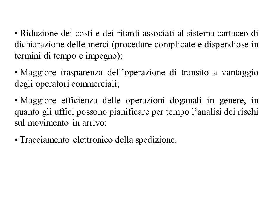 Riduzione dei costi e dei ritardi associati al sistema cartaceo di dichiarazione delle merci (procedure complicate e dispendiose in termini di tempo e