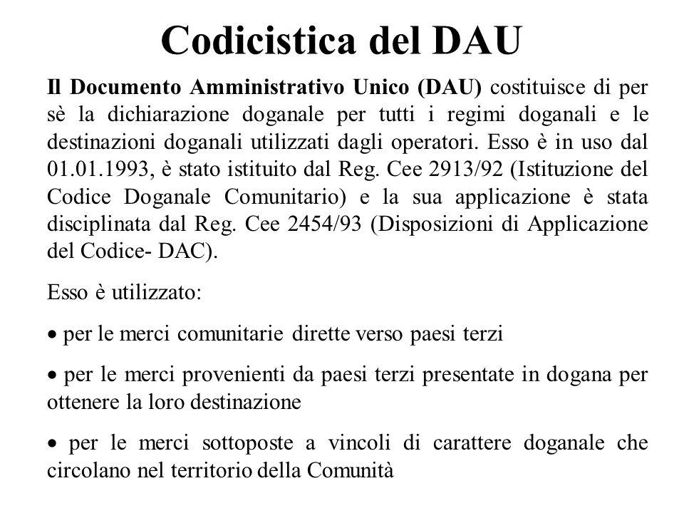 Codicistica del DAU Il Documento Amministrativo Unico (DAU) costituisce di per sè la dichiarazione doganale per tutti i regimi doganali e le destinazi