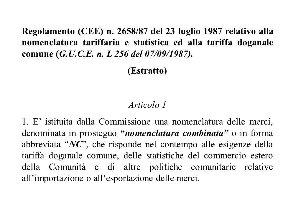 Regolamento (CEE) n. 2658/87 del 23 luglio 1987 relativo alla nomenclatura tariffaria e statistica ed alla tariffa doganale comune (G.U.C.E. n. L 256