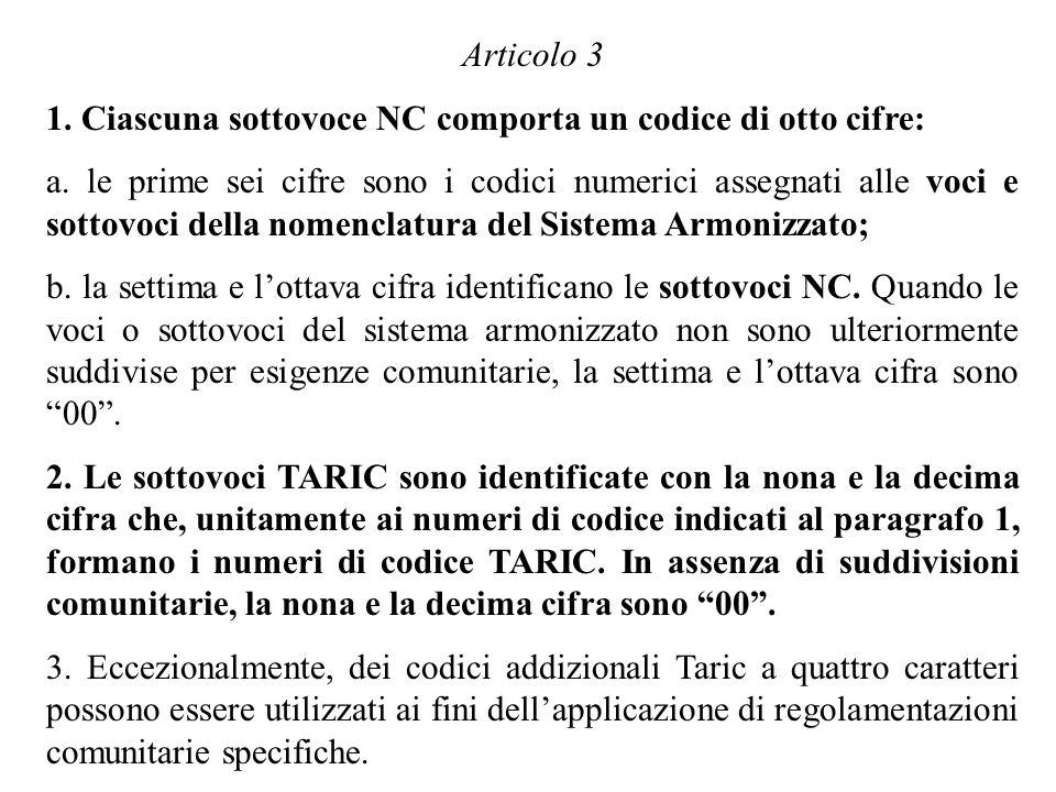 Articolo 3 1. Ciascuna sottovoce NC comporta un codice di otto cifre: a. le prime sei cifre sono i codici numerici assegnati alle voci e sottovoci del