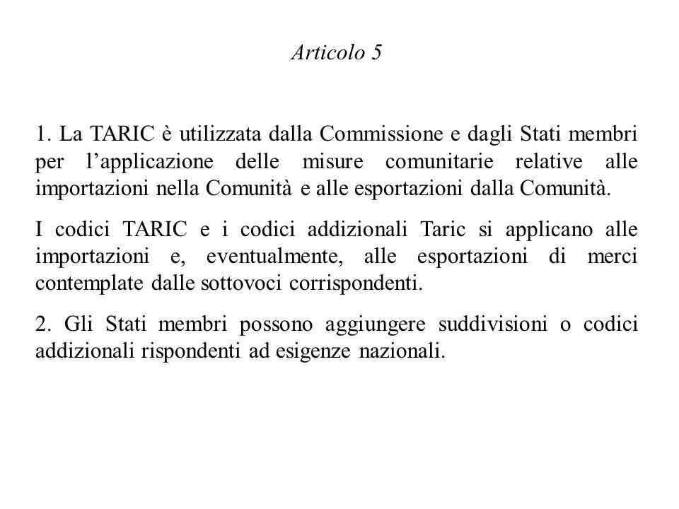 Articolo 5 1. La TARIC è utilizzata dalla Commissione e dagli Stati membri per lapplicazione delle misure comunitarie relative alle importazioni nella