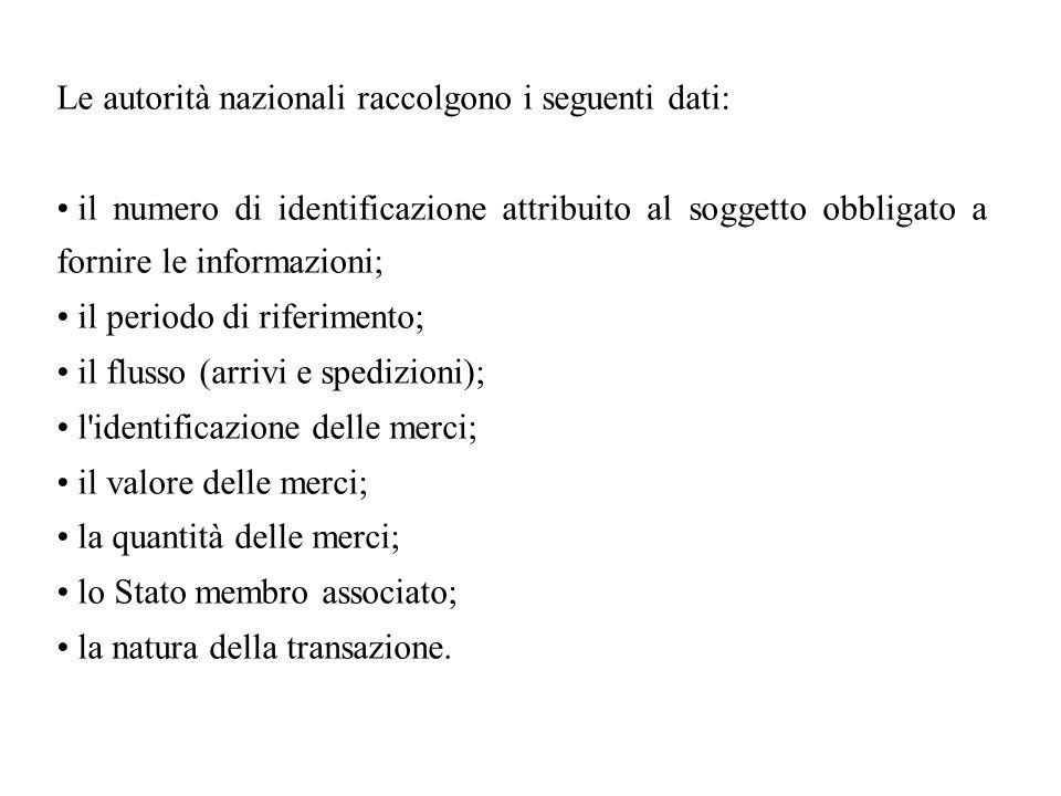 Le autorità nazionali raccolgono i seguenti dati: il numero di identificazione attribuito al soggetto obbligato a fornire le informazioni; il periodo