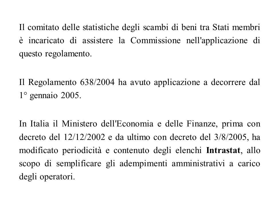 Il comitato delle statistiche degli scambi di beni tra Stati membri è incaricato di assistere la Commissione nell'applicazione di questo regolamento.